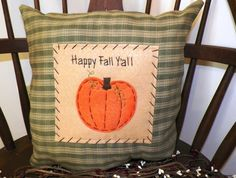 Penny Rug Pillow Primitive Stitchery Prim Fall Autumn Pumpkin Harvest Rustic Country Home Decor Handmade UNSTUFFED Happy Fall Y'all. $14.99, via Etsy.