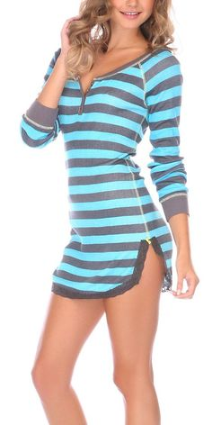 Look at this Taffy Stripe Henley-Dew Sleep Shirt by Honeydew Intimates Cute Sleepwear, Lingerie Sleepwear, Nightwear, Cute Pjs, Cute Pajamas, Comfy Pajamas, Mode Style, Style Me, Night Gown