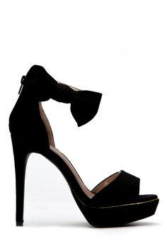 e493ac8696 Black Faux Suede Open toe Bow Ankle Strap Platform Heels   Cicihot Heel  Shoes online store sales Stiletto Heel Shoes