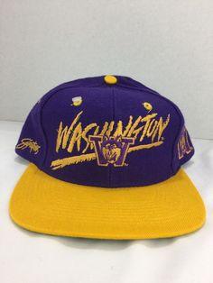 ce6535222e0 WASHINGTON HUSKIES SnapBack Baseball Cap Hat VINTAGE 90 S HAT CAP NWT