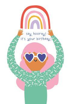 Rainbow girl - Happy Birthday Card  #greetingcards #printable #diy #birthday