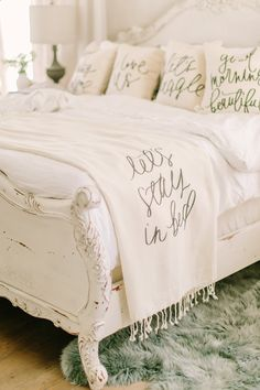 Handmade Lets Stay in Bed neutral blanket by Parris Chic Boutique- meaningful home decor- blankets and pillows available at Parris Chic Boutique- photo by Jessa Schifilliti of Love Light Photographs