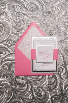 KATIE Suite Fancy Glitter Package, hot pink and silver foil letterpress wedding invitation, traditional wedding design