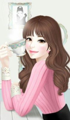 Coffee Girl by Jennie Enakei Korean Art, Cute Korean, Girl Cartoon, Cute Cartoon, Deco Cafe, Anime Korea, Tee Set, Girly M, Cute Girl Wallpaper