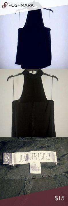 Jennifer Lopez black halter Size medium Sleeveless Lightweight Beautiful material  Zip close in the back with fastener Perfect for summer time! Jennifer Lopez Tops