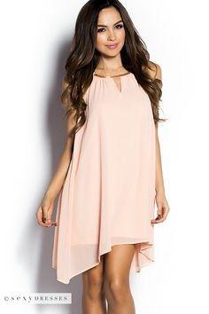 Peach Flowy Drapped Chiffon Tent Dress