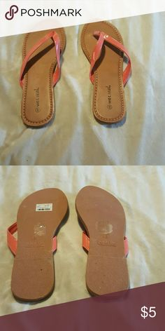 NWT Wet seal sandals. Wet seal sandals. Tan with coral colored straps. Never been worn. NWT. Wet Seal Shoes Sandals