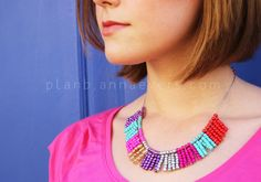 Plan B anna evers DIY Multi color necklace - (I'm thinking gold and black would be pretty cool-looking -djm)
