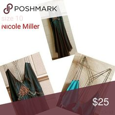 Size 10 green Nicole Miller Beautiful Green with black ombre silk dress size 10 Nicole Miller Nicole Miller Dresses Midi