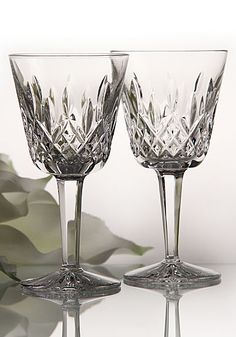 Waterford Crystal, the Lismore pattern. My son, Mark, bought some of these during a visit to the Waterford Crystal factory in Ireland after he had his first job. Baccarat Crystal, Crystal Glassware, Waterford Crystal, Waterford Ireland, Waterford Lismore, Decoration Table, Vintage Glassware, Cut Glass, Wine Glass