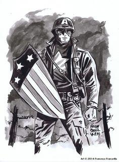 Francavillarts | WW2 CAP AMERICA Ink & Inkwash on bristol board