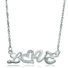 """Pugster Clear Diamond Accent Love Pendant Necklace 18"""" Pugster. $39.59. Metal: Crystal, Silver Stone,. Color: Silver. Weight: 5.8. Size: 47.58*2.68*13.39"""
