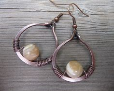 copper mother of pearl earrings natural bead by fancyyoudesigns
