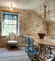 FARMHOUSE – INTERIOR – vintage early american farmhouse showcases raised panel walls, barn wood floor, exposed beamed ceiling, and a simple style for moulding and trim, like in this farmhouse french country dining room.