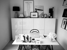 Desk Inspo, Bedroom Desk, Beautiful Interior Design, Home Office Design, White Cabinets, Home Organization, Ikea, Sweet Home, House