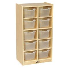 Birch 10 Cubby Tray Cabinet with Scoop Front Bins, Kids Toy Storage Orgaznier with Rolling Casters, Hardwood Mobile Storage Cabinet for Classroom, Preschool and Homeschool Supplies, Assorted Kid Toy Storage, Storage Bins, Storage Cabinets, Storage Spaces, Rolling Storage, Storage Solutions, Storage Ideas, Clear Bins, Homeschool Supplies