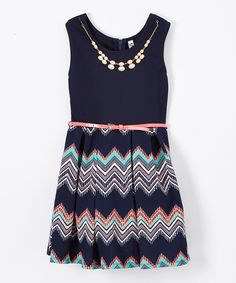 This Navy & Coral Chevron Skater Dress & Necklace by Beautees is perfect! #zulilyfinds