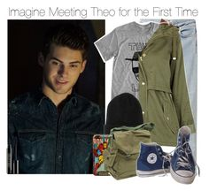 """""""Imagine Meeting Theo for the First Time"""" by xdr-bieberx ❤ liked on Polyvore featuring Acne Studios, Topshop, BOY London, Marvel Comics, Converse and Lord & Berry"""