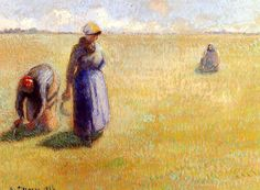 Three Women Cutting Grass Camille Pissarro - 1886