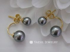 Classic Double Pearl Earrings in Grey, Double Pearl Earrings, Sterling Silver Post, Quality Pearls, Fifty Shades of Grey by YaesilJewelry on Etsy Double Pearl Earrings, Fifty Shades Of Grey, Pearls, Sterling Silver, Trending Outfits, Unique Jewelry, Classic, Handmade Gifts, Vintage