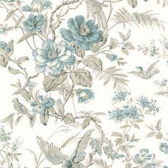 blue floral birds wallpaper FD21530