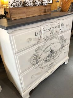 IOD transfer over Old White. The top is a mix of graphite and Paloma with a graphite wash to darken Decoupage Furniture, Hand Painted Furniture, Refurbished Furniture, Paint Furniture, Repurposed Furniture, Shabby Chic Furniture, Furniture Projects, Furniture Makeover, French Furniture