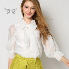 Organza women shirt bow shirt white shirt blouse