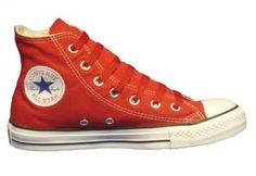 Converse Chuck Taylor All Star Hi Top Red Canvas Shoes with Red Laces