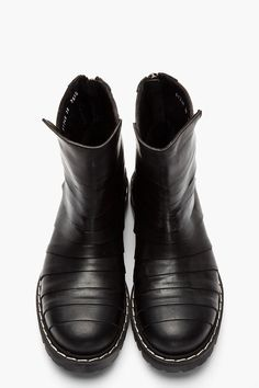 GARETH PUGH Black Paneled Leather Cut-Out Biker Boots
