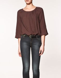 Feeling this.  Blouse with pin tuck neckline - Zara