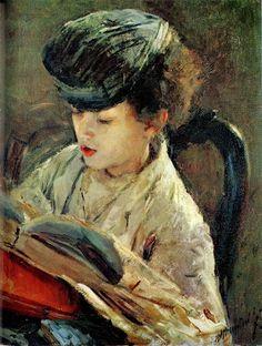 Bimbo che legge by Antonio Mancini born November 14, 1852 in Albano Laziale, Italy died December 28, 1930 (78) in Rome, Italy
