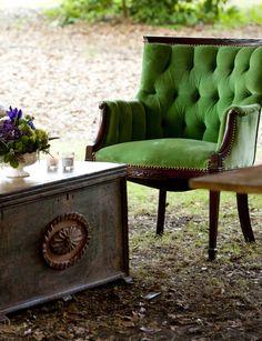 Green velvet chair -- at Ooh! Events, Charleston, SC