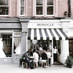 The subdued but classy outside, Monocle Cafe London Coffee Shops, Café Restaurant, Restaurant Design, Cute Cafe, Café Bar, Wanderlust, Adventure Is Out There, Store Fronts, Adventure Awaits