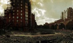 A cottonopolis post-apocalypse: Artist, James Chadderton displays images of Manchester skyline in a nightmarish future.