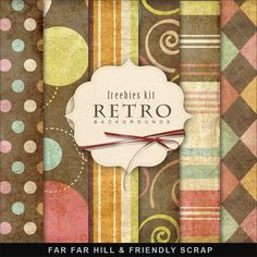 Far Far Hill: New Freebies Background Kit - RETRO --   LOVE THESE PATTERNS!
