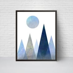 Geometric Mountain Wall Art Print Printable Moon Art by EVEprints