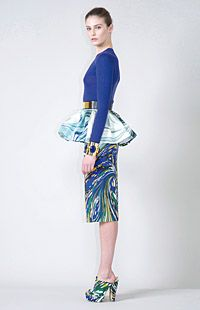 Stella McCartney psychadelic peplum skirt with matching shoes and the belt!!!: eco-friendly high fashion = <3