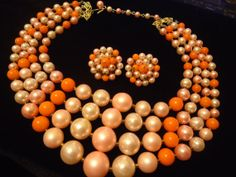 Vintage Pink 4 Strand Necklace Earring Set 1950s by MartiniMermaid, $59.88