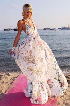 Top 10 dresses for Spring Summer 2013. Maxi Dress:  Paris Hilton seen in a floral maxi dress.