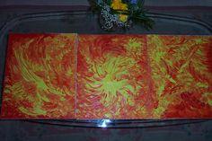 Jasmina Vladimirova, Fleurs de Feu, Huile sur toile,Triptique, 3x 40x60 cm, 120x60 cm,  Collection privée