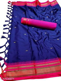 Sarees Hirkal Traditional Paithani Silk Sarees With Contrast Blouse Piece (Royal Blue & Pink)  Saree Fabric: Silk Blend Blouse: Separate Blouse Piece Blouse Fabric: Silk Blend Pattern: Woven Design Blouse Pattern: Woven Design Multipack: Single Sizes:  Free Size (Saree Length Size: 5.3 m, Blouse Length Size: 0.8 m)  Country of Origin: India Sizes Available: Free Size   Catalog Rating: ★4 (502)  Catalog Name: Aakarsha Fashionable Sarees CatalogID_2303917 C74-SC1004 Code: 146-17536871-7761