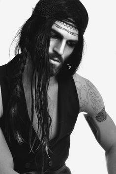 Long Hair Man beard tatoo perfect