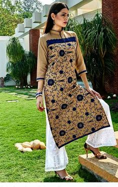 Picture of Admirable Beige and Blue Color Kurti