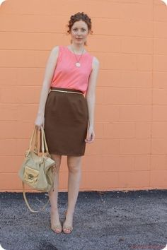 Pink Blouse And Brown Skirt Colorful Land What Color Matches With