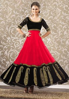 indianattire.com - Peach and black Anarkali dress