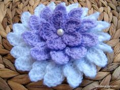 "Beautiful and unique purple or ""Lilac shadow"" Crochet Flower Pattern PDF file with detailed written instructions (in American crochet terms). Crochet Baby Hat Patterns, Baby Blanket Crochet, Baby Patterns, Crochet Simple, Unique Crochet, Beautiful Crochet, Modern Crochet, Double Crochet, Single Crochet"