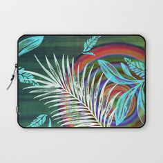 After the Rain Laptop Sleeve by Vikki Salmela on Society6, #new #tropical #rainforest #palms #rainbow #art on #fashion #tech #iPad #cases for #travel #office #home #gift