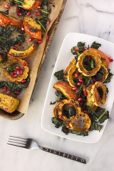 Za'atar Roasted Squash with Crispy Kale and Pomegranate // Tasty Yummies