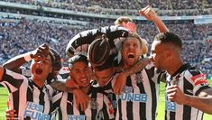 Newcastle players celebrate in front of their ecstatic fans at St James' Park during an emphatic victory on Sunday Dwight Gayle, Newcastle United Football, Chelsea, Antonio Conte, St James' Park, Fa Cup, Big Game, Premier League, Victorious