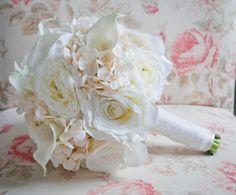 Shabby Chic Wedding Bouquet  Ivory Rose Ranunculus by KateSaidYes, $145.00
